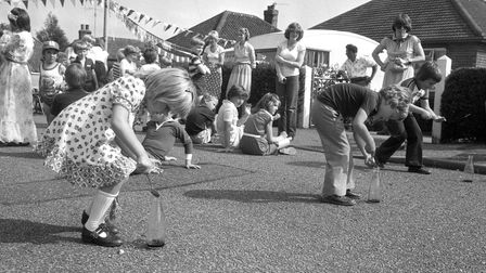 Fun and games inUpper Stafford Avenue, Costessey in July 1981 to celebrate the wedding of Charles and Diana