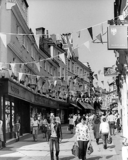 Red, white and blue bunting in Norwich's London street for the wedding of Charles and Diana 40 years ago this month