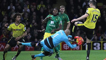 Norwich City's on-loan striker Dieumerci Mbokani made a second half appearance at Watford. Picture b
