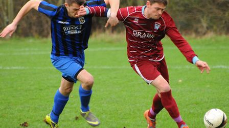 Action from Spixworth against Mulbarton Wanderers in the Anglian Combination Premier Division. Dan B