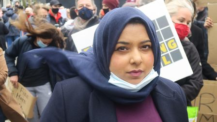 2021... Apsana Begum at a housing demoin Canary Wharf in May