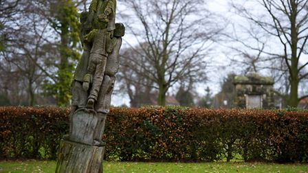 The Oak Tree sculpture in North Walsham park which is leaning over and the Town Council want ti remo