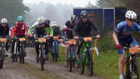 Action from the G8 MTB Races in Thetford Forest, the Youth and U16 start, with U16 winner Josh Murad