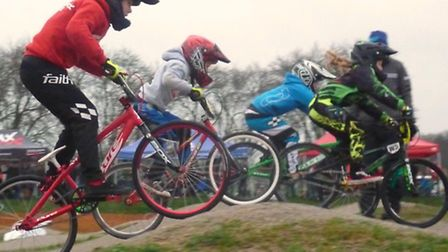 Norwich Flyers BMX meet, the 8-9-year-olds on the first straight. Picture: Fergus Muir