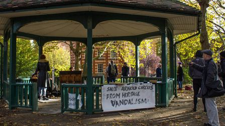 Bandstand at Arnold Circus where campaigns gravitate towards