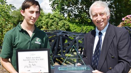 Suffolk agricultural apprentice of the year runner-up Tom Reily, with David Barker of the Suffolk Agricultural Association
