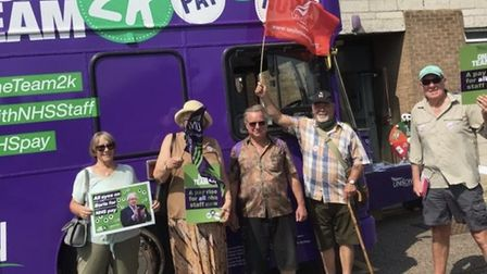 The union is taking the open-top bus to visit a number of hospitals in Cambridgeshire.