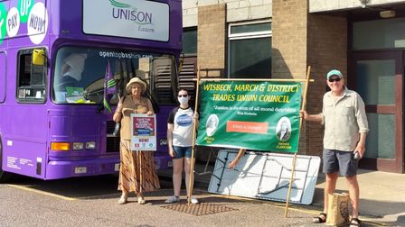 The bus rolled into North Cambs Hospital, Wisbech, on Tuesday morning (July 20)