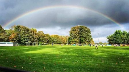 College Meadow in Beccles, under a rainbow, is set to hold events to supportthe NHS andthe Teenage Cancer Trust.