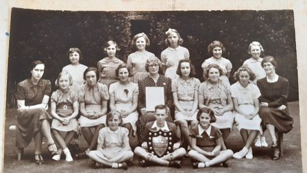 The school photo is of a group from Ely High School, from around 1943
