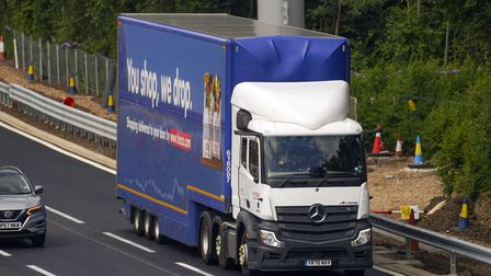 An HGV lorry on the M4 motorway near Datchet, Berkshire. The Government has announced a temporary ex