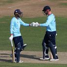 Aron Nijjar (left) and Simon Harmer shared a vital stand to see Essex to victory at Hampshire