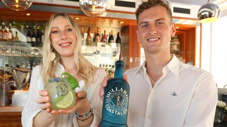Briony Rigby of Bond Cocktail Bar and Joe Evans of Bullards with the specially-created cocktail 'Coastal Refresher'