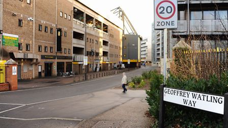 Geoffrey Watling Way, alongside Norwich City Football Ground, which may be closed to public vehicles