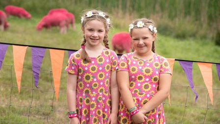 Matilda and Amelia with the pink sheep. Picture: Sarah Lucy Brown