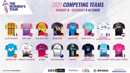 Some of the colourful jersey designs that will be worn by the teams taking part in the Women's Tour