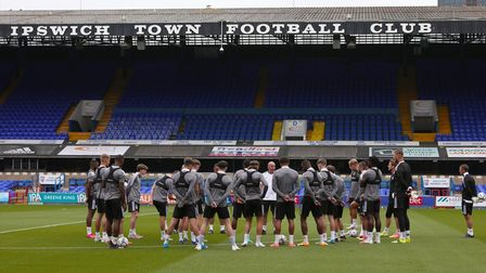 The Ipswich Town squad trained at Portman Road on Friday