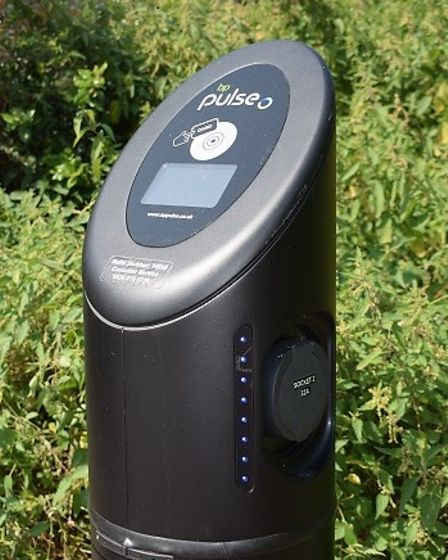 A'bp pulse'Fast Charger for an electric vehicle installed atNewlands Drive car park, Witham by Braintree District Council