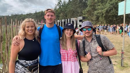 Molly Norman, Tom Whitehouse, Becca Hicks and Mikey Jones at Latitude Festival.