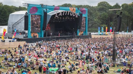 An aerial view of the Obelisk Stage arena at Latitude. Picture: Sarah Lucy Brown