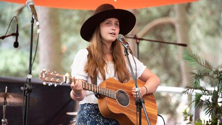 Lucy Grubb singing at The Inbetweeners Stage. Picture: Sarah Lucy Brown