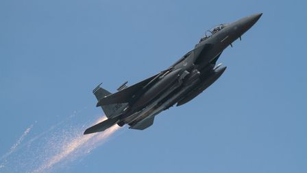 Ian Simpson saw US Air Force pilot Grant Thompson's F-15E Strike Eagle with sparks flying out.