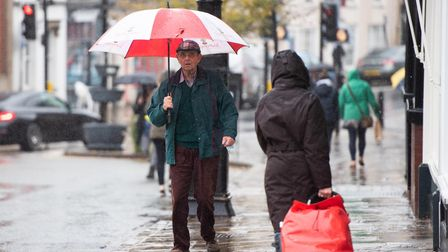 Wet weather and storms are predicted to arrive in Suffolk from Wednesday evening