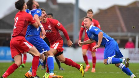 Jake Reed, right, scored the only goal for Lowestoft Town against Alfreton. Picture: Nick Butcher