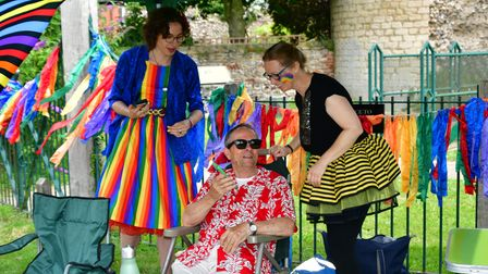 People enjoying the first ever Bungay Pride event on Saturday, July 24.