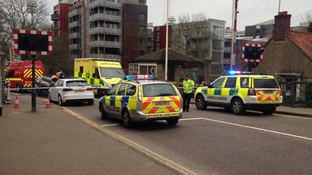 The scene near Carrow Road this morning where a man's body was found in the River Wensum.