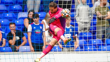 Ipswich keeper Vaclav Hladky takes an early goal kick.