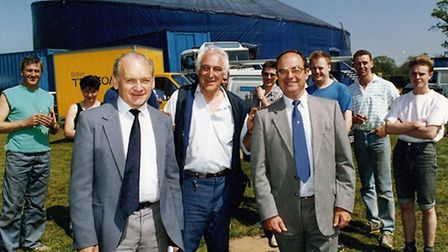 Jack Bowhill (centre of front row) at the opening of the Norwich Theatre Royal Theatrama tent. Photo