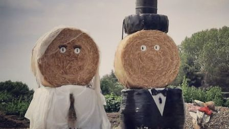 Wedding couple made of hay in Norfolk