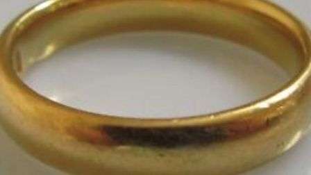 A gold wedding band ring similar to the one stolen from a patient's hand in Broomfield Hospital, Essex