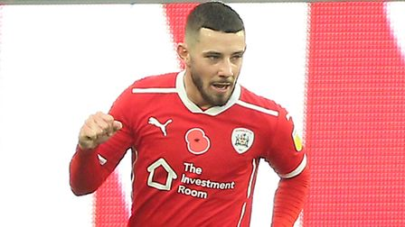 Barnsley's Conor Chaplin celebrates scoring his side's first goal of the game during the Sky Bet Cha