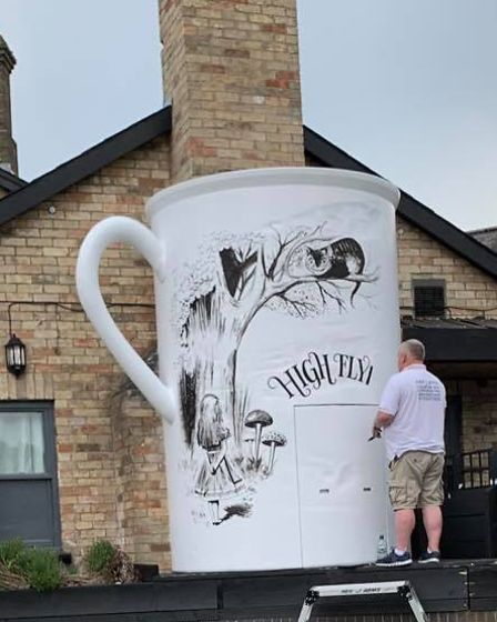 The Alice in Wonderland theme tea cup looks to become a permanent feature of the Newnham Street, Ely, pub