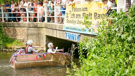 A scene from theThe Fakenham Cardboard Raft races, one of the many events