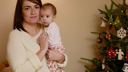 Anna Scriven with her fifteen week old daughter Molly. Photo : Steve Adams