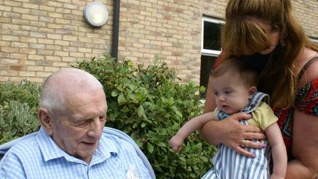(R) Spencer Bearman-Lilley, who was able to meet his Great-Great-Great Uncle, Ted Wisbey (L), for the first time.