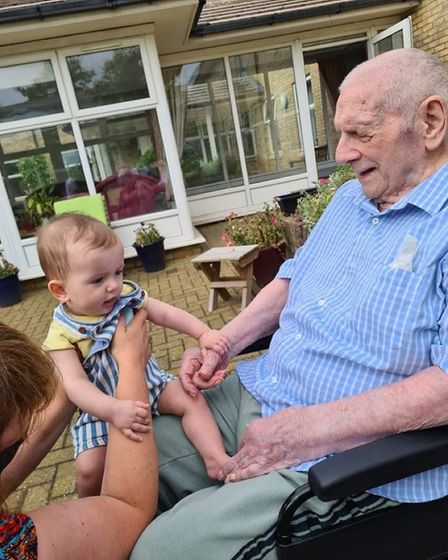 (L) Spencer Bearman-Lilley, who was able to meet his Great-Great-Great Uncle, Ted Wisbey (R), for the first time.