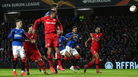 Rangers' George Edmundson scores his side's first goal of the game during the UEFA Europa League rou