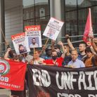 Protesters outside Uber's UK headquarters