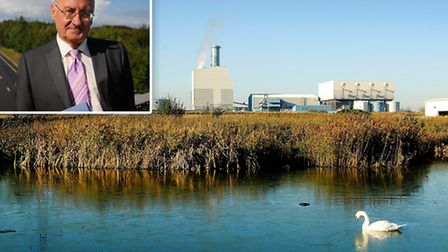 The proposed incinerator site at Saddlebow (Picture: Ian Burt) with George Nobbs, leader of the Norf