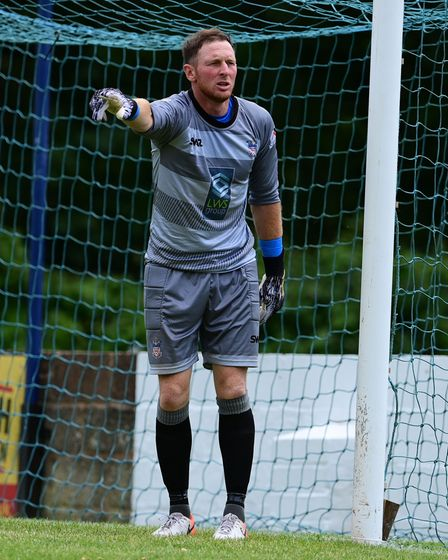 Chris Wright, Goalkeeper of Exmouth Town during pre season match between Exmouth Town and Verwood To