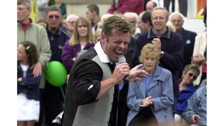 Mark Maddison singing at the Clacton Pier celebrations for the Queen's Golden Jubilee in 2002