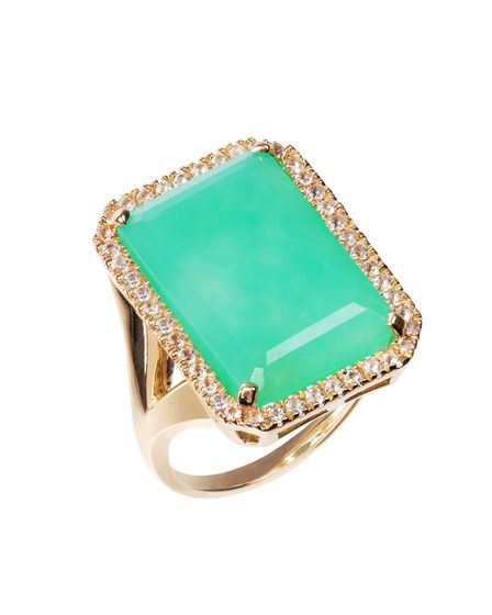 Electra Gold Chrysoprase Ring, £205, by Emily Mortimer Jewellery