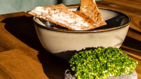 Aldeburgh pebble coated in smoked cod roe emulsion and chives, served with wholegrain and nigella seed crackers