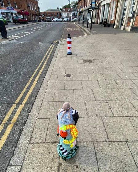 Bollards have been beautifully fitted with wool in Dereham's Market Place.
