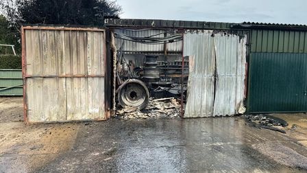 The barn in Great Holland where fire crews were called to tackle a serious blaze