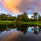 Hedingham Castle grounds at sunset